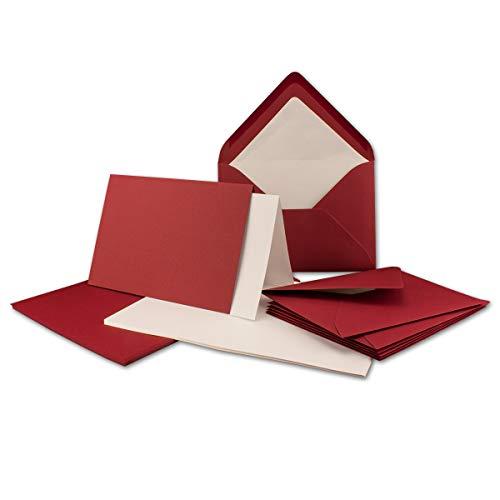 25 Sets - großes Kartenpaket mit 25 Faltkarten, passenden Einlegeblättern in creme & 25 gefütterten Umschlägen (gerippt) DIN B6 in Dunkelrot!