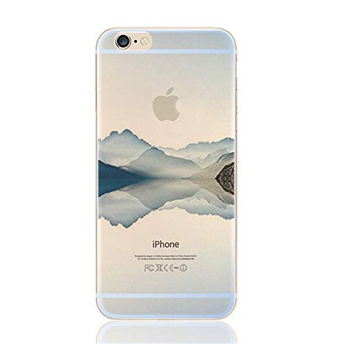DECO FAIRY iPhone 6/6S, Mineral Violett Hill Mountain Alpen Back Top Ultra Slim Silikon Case Cover -