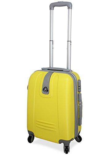 TROLLEY IN ABS 52X35X20 4 RUOTE adatto come BAGAGLIO A MANO per tutti compagnie aeree (GIALLO)