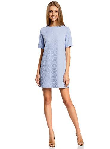 oodji Collection Femme Robe Tricotée à Motif Reliéfé Bleu (7000N)