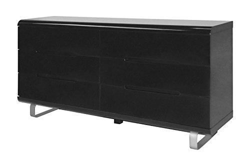 Kommode Spacy Hochglanz schwarz Sideboard Schubladen Schrank Highboard