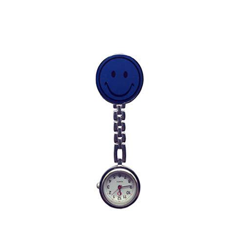 Soyion Schwesternuhr Ansteckuhr,Niedliches Smiley-Gesicht mit Pin/Clip,Taschenuhr für Health Care Arbeiter,Schwesternuhr Pulsuhr Ansteckuhr Krankenschwesteruhr Quarz(Navy blau)