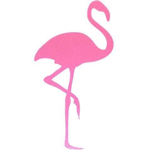 Bügelbild, Motiv: Flamingo, Farbe: fuchsia, Größe: 19x9,5cm, heißsiegelfähige Flockfolie auf Basis von Viskosefasern