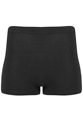 Oops Outlet Damen einfarbig Kreis Sport Fitnessstudio Fitness Stretch Freizeit Hotpants Mini Shorts - Schwarz, S/M (UK 8/10)