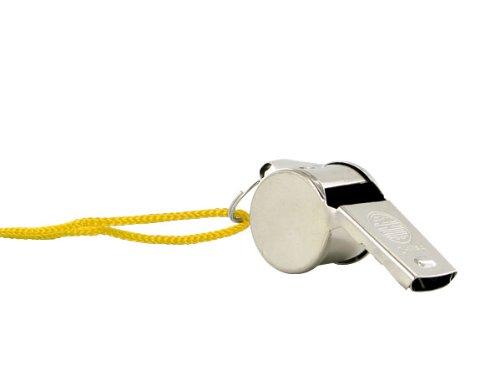 1 Stück Trillerpfeife Signalpfeife Metall mit Kordel Schiedsrichterpfeife