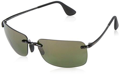 Ray-Ban RAYBAN Herren Sonnenbrille 4255 Shiny Grey/Greenmirrorgold, 60