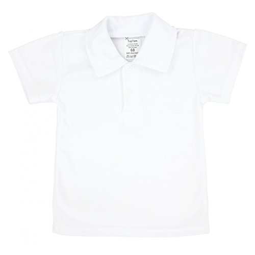 TupTam Baby Polo-Shirt mit Print 100% Baumwolle Jungen T-Shirt mit Polokragen Sommer, Farbe: Weiß, Größe: 92