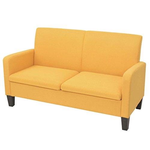 vidaXL 2-Sitzersofa Gelb 2er Sitzer Sofagarnitur Stoffsofa Couchgarnitur Sofa
