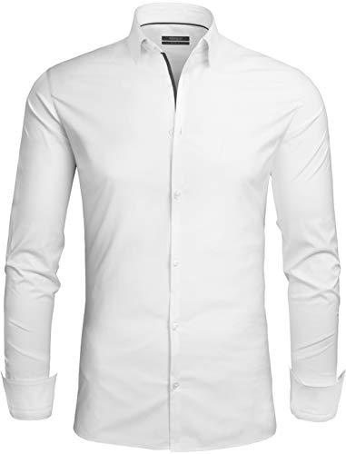 Grin&Bear Design Herren Hemd, Weiss2, Slim, L, SH335