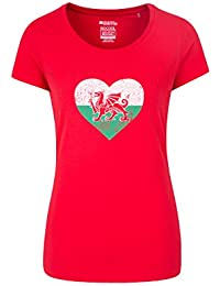 Mountain Warehouse Welsh Heart Womens Tee - Lightweight Ladies Summer Top, Breathable Tshirt, Quality Print, Funny Tee -for Travelling, Picnic, BBQ Party & Holidays