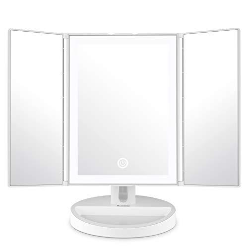 Auxmir Kosmetikspiegel mit LED Licht und 5X/ 10X-Vergrößerungsspiegel, Schminkspiegel Beleuchtet für Schminken, Rasieren und Tragen der Kontaktlinsen,Touchschalter für Dimmbare Helligkeit
