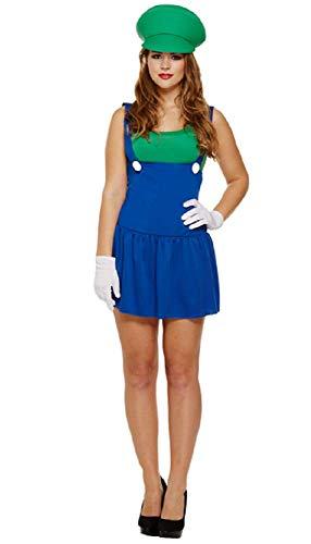 Fancy Me Damen Sexy Mario Luigi 1980s Jahre 1990s Henne Do Halloween Kostüm Kleid Outfit - Grün, One Size (Best fits UK 8-12) (Am Besten Mario Kostüm)