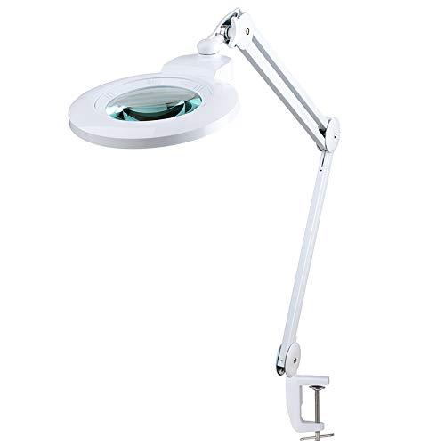 SEMPLIX LED Lupen-Tischleuchte weiß (60 LEDs, Linse 127mm, 4fach dimmbar) mit einer Tischklemme und...