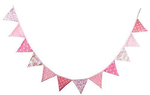 Cosanter Dekoration Wimpel Girlande Rosa Valentinstag Baumwolle Flagge im freien Hochzeit Dekoration (Flagge Happy Birthday Freien Im)