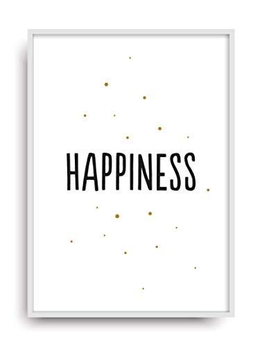 Fine Art Kunstdruck HAPPINESS Poster Print Plakat moderne Vintage Deko Bild ohne Rahmen DIN A4 Geschenk