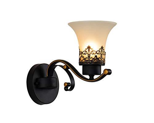 Wandleuchte LED Antik Kreative Nostalgie Retro Wandlampe 1-flammig Metall Glas Design Wandbeleuchtung für Nachttischlampe Wohnzimmer Schlafzimmer Esszimmer Loft Aisle Balkon Flur Lampe E27 Fassung (Ø22CM×27CM) - Antik Messing-kristall-wandleuchte
