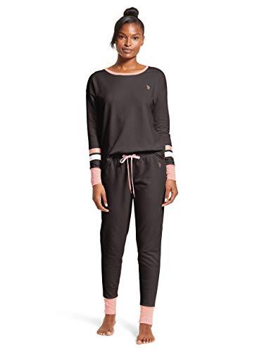 U.S. Polo Assn. Womens Cuffed Long Sleeve Shirt and Lounge Pajama Pants Sleep Set (Lounge Womens Shirt L/s)
