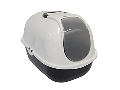 Cat Flip Litter Tray Dark Grey & White Box Hooded Pan Toilet Charcoal Filter Deep