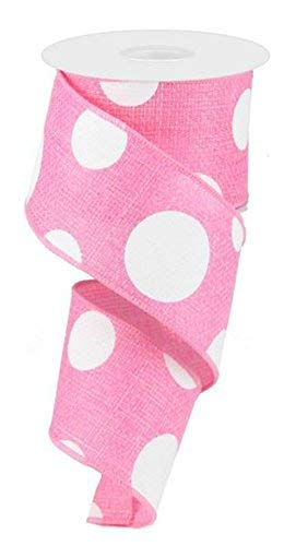 6,3 cm Light Pink Giant Polka Dot Band Expressions Drahtkante, Pink Ribbon rg0120022 -