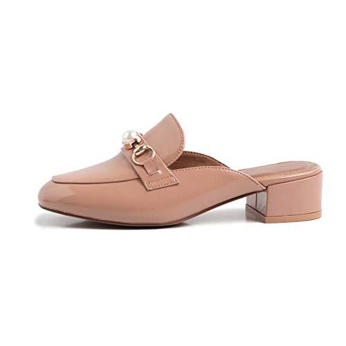 XLY Damen Leder Slip auf Heeled Sandalen Square Toe Slingback Kleid Slide Sandalen,Khaki,35 Square Toe Slip
