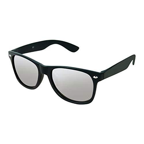 helmut-online.de Sonnenbrille im Nerd Retro Wayfarer Style | Schutz durch UV 400 | perfekt für Partygruppen, JGA, Aprés Ski, Urlaub, Karneval, Vatertag, Alltag | mattschwarz, silber verspiegelt