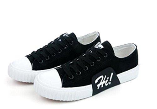 SHFANG Dame Schuhe Niedrige Hilfe flache Unterseite Segeltuch-Bewegung Bequeme Freizeit-Kursteilnehmer-Schule Täglich vier Farben Black
