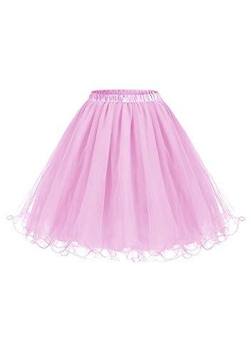 ALAGIRLS Femme ALA80001 Jupon Sous Robe/Jupe années 50 vintage Crinoline Petticoat Rétro en Tulle Rose S