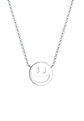 Elli Damen-Halskette mit Anhänger Smiley Icon Emoji Happy Lachen Laughing silber 925 0111470816_45 - 45cm Länge