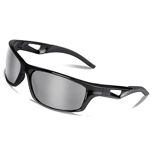 Polarisierte Fahrradbrille Sport Sonnenbrille Radbrille mit UV400 Schutz für Unisex, unzerbrechlichem Rahmen aus TR90, für Outdooraktivitäten wie Radfahren Laufen Klettern Autofahren Angeln (Silber)