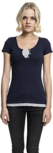 Urban Classics Damen Ladies Two-Colored T-Shirt nvy/gry
