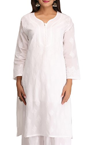 ADA Hand Embroidered Lucknow Chikankari Regular Fit Cotton Kurti ( A240285 _...