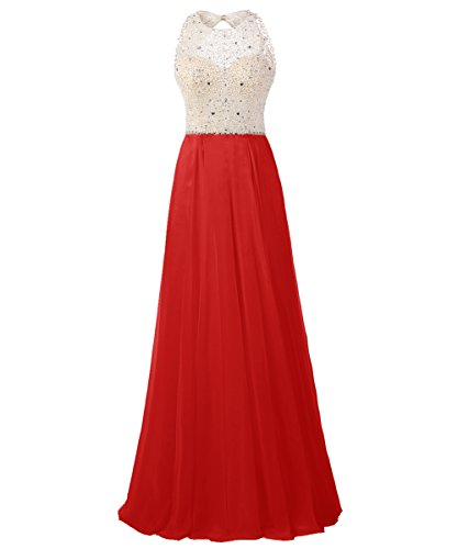 Dresstells Damen Rückenfrei Abendkleider Friesen Cocktail-Kleider Rot