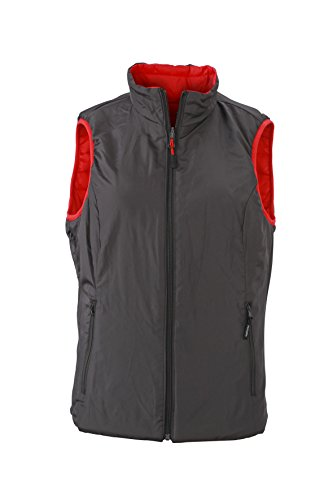 James & Nicholson–Lightweight Vest Gilet Rosso/Carbone