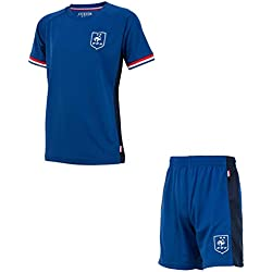 Maillot + short FFF - Collection officielle Equipe de France de Football - Taille enfant garçon 10 ans
