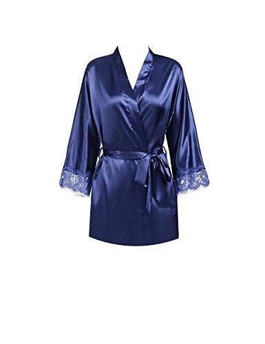 Virginia Robin Feste weiche Nachthemd Nachtwäsche Kimono Bademantel Nachtwäsche Hochzeit Braut Brautjungfern-Roben, Marineblau, M (Fleece-petite-robe)