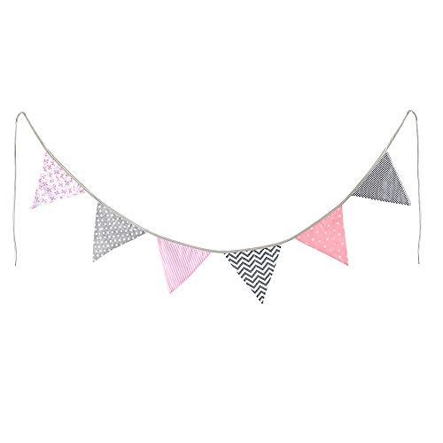 BAKHK 2 m Länge, 6Wimpel, Wimpelkette Rosa Grau Weiß, Stoff-Girlande, farbenfrohe Deko für Kinderzimmer, Baby Geburtstage