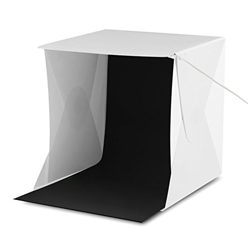 Amzdeal Lichtzelt 24 x 24cm Fotostudio Set mit Beleuchtung LED Leuchte inkl. 2 Hintergrund (Weiß, Schwarz)