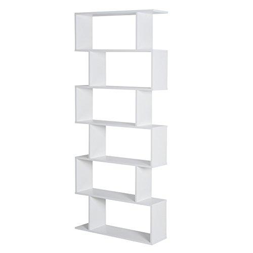 Homcom Bibliothèque étagère Zig zag Design Contemporain 80L x 23l x 192H cm 6 Niveaux Blanc