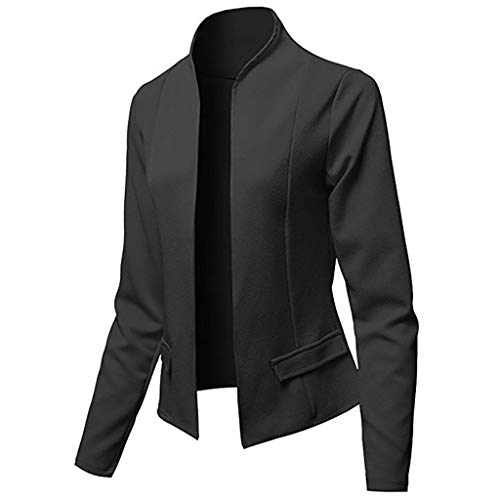 Hniunew Sakkos MäDchen Suit Pumps Elegant Blazer Cardigan Office Jacket Jacke FließT Wunderbar Kurzer Mantel Arbeitskleidung Damenoberteile Dress Coat (XXXL, Schwarz)