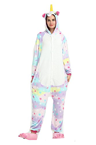 Kenmont Jumpsuit Tier Cartoon Einhorn Pyjama Overall Kostüm Sleepsuit Cosplay Animal Sleepwear für Kinder / Erwachsene (Small, Star Unicorn)
