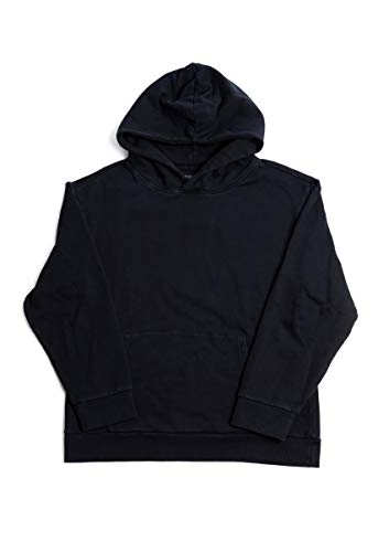 BasicLine Hooded Sweatshirt (Heavyweight Pigment-Dyed Cotton) (Black, X-Large) - Hooded Fashion Sweatshirt