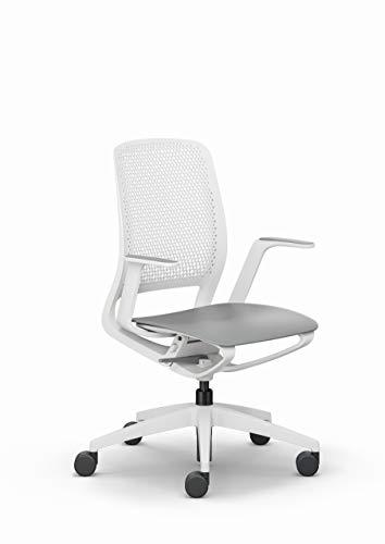 Sedus se:motion, Bürostuhl, Drehstuhl, lichtgrau/weiß, mit Armlehnen, Kunststoff 950 - 1065 mm