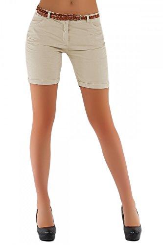 Damen Chino Hosen, kurze Shorts Bermuda, Damenhosen mit Gürtel ( 279 ) (44 XXL, Braun)