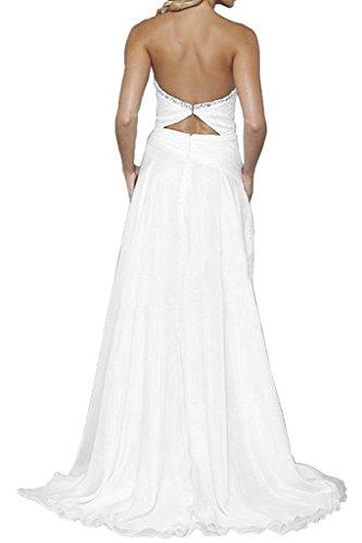 Royaldress Herrlich Chiffon Steine Abendkleider Partykleider Abschlussballkleider Lang A-linie Rock Weiß