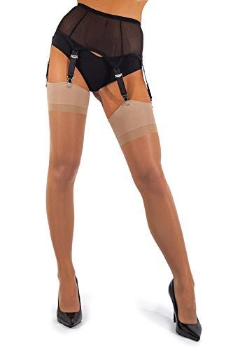 sofsy Sheer Oberschenkel Strapsstrümpfe Strumpfhose für Strumpfgürtel und Hosenträger Gürtel Plain 15 Den [Hergestellt in Italy] (Strumpfgürtel separat erhältlich!) Natural 3 - Medium