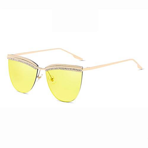 MWPO Sonnenbrille Anti-UV-Mode Meereslinse Gezeitenstrom Sonnenschutz Spiegel Bequemes und langlebiges Fahren Outdoor-Shopping Brille (Farbe: Goldrahmen gelbe Linse)