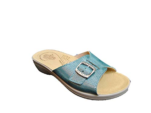 f5a4306087cd39 Fly Flot T5B17 3E Emerald Comfort Woman Leather Slippers