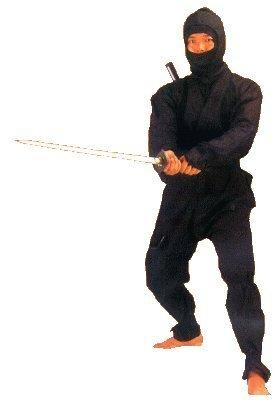 Fu Ninja Kostüm Kung - Ninja Anzug schwarz, Gr. 180 cm