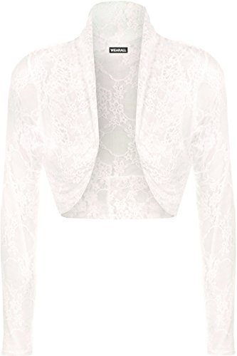 WearAll - Damen Floral Lace Stretch Langarm Short Shrug-Wolljacke - Creme - 50-52 (Floral-nylon-strickjacke)