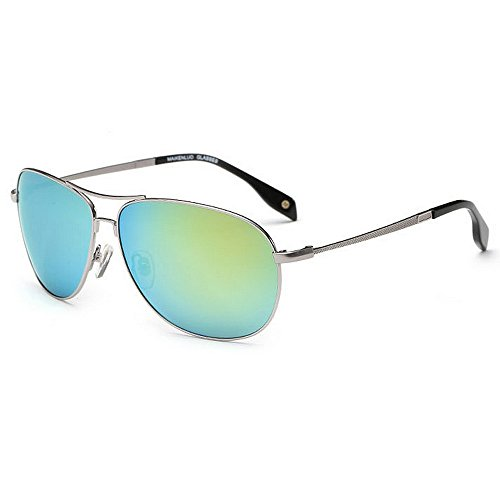 Ppy778 Aviator Polarized Sonnenbrillen Herren , UV 400 Schutzrahmen aus Metall (Color : Light Blue)
